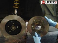 Lifted, Inc. DIY Car Workshop  Wilwood brake upgrade on s14 (240sx).  You can see the size difference 12.75 in rotors.