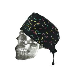"""""""Sprinkled confetti"""" hand printed theatre cap - side view"""