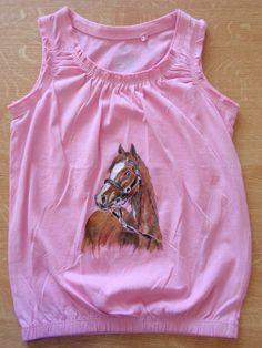 horse paiting on shirt, by Eberika Horse, Tank Tops, Shirts, Women, Fashion, Moda, Halter Tops, Fashion Styles, Horses