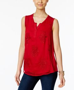 39.50$  Watch here - http://viwoo.justgood.pw/vig/item.php?t=cb25ie310660 - Petite Embroidered Split-Neck Top, Only at Macy's 39.50$