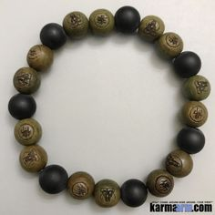 INSIGHT: Buddha Carved Sandalwood | Matte Black Onyx Yoga Mala Bracelet