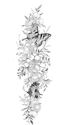 Henna Tattoo Designs Simple, Floral Tattoo Design, Unique Tattoos, Floral Design, Side Hip Tattoos, Vine Tattoos, Body Art Tattoos, Butterfly Thigh Tattoo, Mandala Flower Tattoos