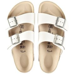 birkenstock arizona sandals ($129) ❤ liked on Polyvore featuring shoes, sandals, flats, footwear, birkenstock shoes, flats sandals, flat pumps, flat heel shoes and birkenstock sandals