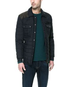 QUILTED OVERSHIRT WITH FAUX LEATHER APPLIQUÉ from Zara