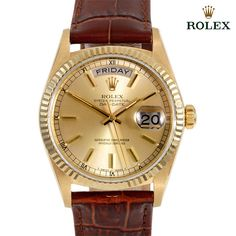 Rolex Men's Day Date Presidential Watch - Brown Leather Are you starting to feel the pressure of wondering what to give to your family and friends? This chic and impressive watch makes that problem dissipate with ease. Whether it's an elegant gift for the lady of the house or a masculine timepiece for the hubby, a watch is a great go-to gift. With classic or trendy stylings, a timepiece is for the ages.
