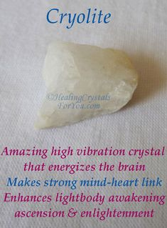 Cryolite is an amazing high vibration crystal that energizes the brain & produces a strong mind-heart link, creating a deep connection to the higher realms and to Spirit. Healing Crystals For You, Crystal Healing Stones, Crystals And Gemstones, Stones And Crystals, Crystal Magic, American Women, American Indians, American Art, American History