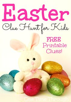 The Easter Bunny has left a series of 12 fun clues for your child to follow on #Easter morning for an extra-adventurous easter egg hunt! This hunt will take your child around the house, through a traditional egg hunt, and then outside if you want.  Totally modifiable, printable and did I mention…completely #FREE  {One Time Through}