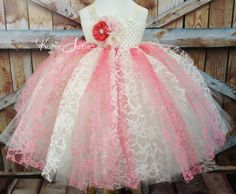 Coral Pink Ivory Lace Tutu Dressflower girl by KutieTuties on Etsy