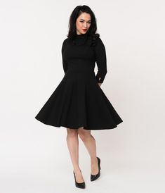 c3d65ddf750 Unique Vintage Black Knit Three-Quarter Sleeved Parker Flare Dress Vintage  Outfits