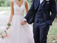 Blush Pink and Navy make the most adorable color combination for wedding. Love pink MOONLIGHT gown, style J6265