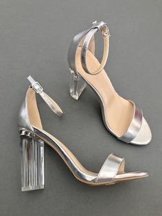 Fashion Slippers, Fashion Shoes, Dress Shoes, Shoes Heels, Princess Shoes, Types Of Heels, Prom Heels, Silver Heels, Designer Heels