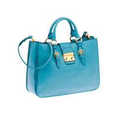 Miu Miu RN0797 2AJB F0013 Madras Top Handle – Light Blue