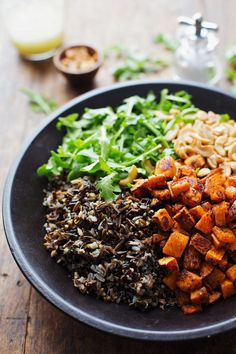 Roasted Sweet Potato, Wild Rice, and Arugula Salad: served with a simple lemon and olive oil dressing. I licked the plate clean. 300 calorie...
