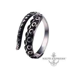 Punk Titanium Steel Octopus Tentacles Ring Pirate Nautical Gothic Wrap Rings UK