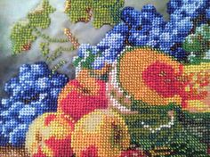 Picture embroidered with beads - Still life with the pumpkin   Size without frame is 30cm X 24cm ( 11,2 X 10 ) The piture is without the frame, it can be ordered optionally.  The picture is partially embroidered with Czech beads on atlas. This picture will make your house interior unforgettable.  EXPRESS SHIPPING