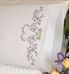 Dimensions Stamped Embroidery Kit   IVY HEART Pillowcase (Set of 2)
