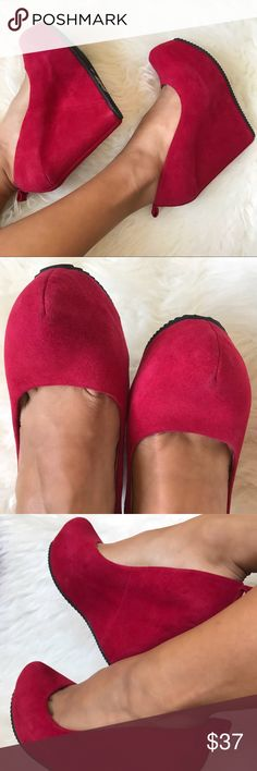 Aldo Suede Leather Red Wedges 7.5 •Leather suede upper and inner leather. •Comfortable and great grip rubber bottom. •Suede is in top shape, hardly worn and carefully stored in shoes closet.  Color is still vibrant just like when purchased. •Measurements 2in covered platform (front platform) x 5 1/4 (heel). •Fits true to size 7/5 US.  Please remember this is a preowned item...it is not new and may have some wear although it is in top condition. We are honest in our listings and try our best…
