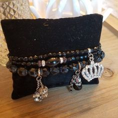 Items similar to Vintage black glass and Czech faceted beads with crown and rhinestone charms on Etsy Handmade Necklaces, Handmade Gifts, Stackable Bracelets, Jewelry Design, Unique Jewelry, Faceted Crystal, Black Glass, Bracelet Set, Vintage Black
