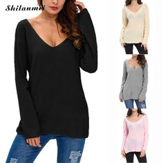 pull femme sexy v neck solid knitwear pink sweater women 2016 pullover Sexy jumpers Casual loose outwear unif jersey mujer top