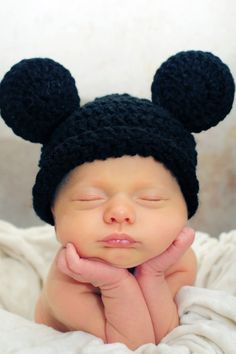 black Mr  MOUSE CROCHET Beanie  Hat for Boy or Girl by thebabypea, $11.75