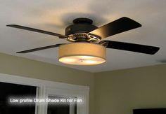 Low Profile Linen Drum Shade Kit for Ceiling Fan | stlightingonline.com