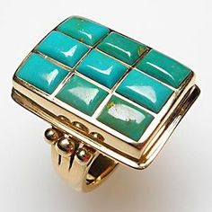 Estate Cocktail Ring Natural Turquoise Solid 18K Gold
