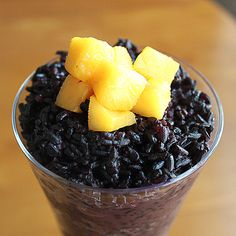 Forbidden (black sweet) Rice Pudding with coconut milk and mango