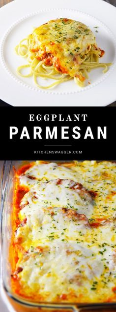Classic eggplant parmesan recipe loaded with mozzarella cheese and served over pasta.
