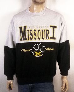 vtg 80s Dodger retro Colorblock Mizzou Missouri Tigers Sweatshirt NCAA sz XL ed36b241f