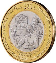 Moneda y billete Mexicano por Centenario de Constitución