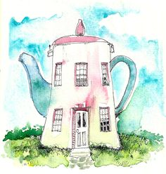 Teapot House Home Decor kitchen art coffee tea for her by WeThree