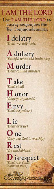 Ten Commandments -- I AM THE LORD.