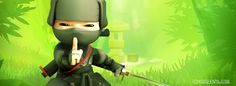 green background with bamboos and a ninja with sword cool facebook timeline profile cute cover