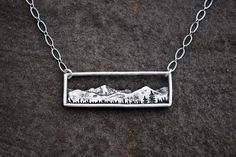 Mountain Range Rectangle Pendant - Bar Necklace - Sterling Silver - Landscape - Colorado Jewelry - Everyday Necklace by GatherAndFlow on Etsy https://www.etsy.com/listing/293102151/mountain-range-rectangle-pendant-bar