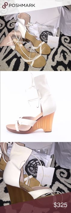 Chloé wedge sandals These are almost perfect!! Comes with box, card, extra black laces. The leather around the ankle is super soft. Off white color. Clean bottoms. Just perfect shoes!! Chloe Shoes Wedges