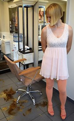 Jamie was so embarrassed standing in the salon in a pink dress and girls bob haircut after losing the bet. Cute Bob Haircuts, Bob Haircut With Bangs, Short Bob Hairstyles, Long Hair Cut Short, Short Hair Styles, Forced Haircut, Hair Tattoos, Bowl Cut, Shaved Hair