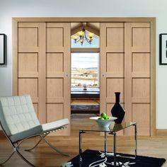 Quad Telescopic Pocket Shaker 4P Oak Veneer Door - Prefinished.    #panelleddoors #oakdoors #shakerdoors #interiordoors #telescopicdoors #pocketdoors #hiddendoors #doors #interiordesign