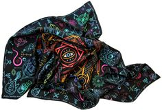 "100% silk scarf black square ""Alchemy"""