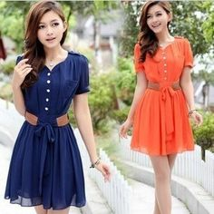 Cute Puff Sleeves V-neck Short Mini A-line Pleated Belted Belt Chiffon Summer Dress Hot Day Lady Dress Women One-piece Dresses $15.80