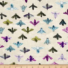 Dreamer Save The Bees Stone from @fabricdotcom  Designed by Carrie Bloomston for Windham, this cotton print fabric features a distressed look fabric with bee sketches. Perfect for quilting, apparel and home decor accents. Colors include cream, taupe, chartreuse, army green, grey, charcoal and shades of blue and purple.