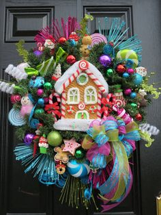 Christmas Wreath,Gingerbread Wreath,Holiday Wreath, Ornament Wreath,Whimsical Wreath, Door Wreath,Gingerbread house and ornaments on Etsy, $169.99