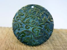 Storm Patina Copper Pendant 35mm 22G Round by SupplyYourSoul