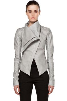 Image 2 of Gareth Pugh Leather Jacket in Silver/Grey
