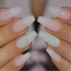 50 COFFIN NAIL ART DESIGNS - nenuno creative,Transparent Nails with Center Glittered Coffin Nails. This slaying ombre transparent nails with the ring finger being glittered. Gorgeous Nails, Love Nails, Fun Nails, Perfect Nails, Dream Nails, Happy Nails, Cute Nail Designs, Acrylic Nail Designs, Sparkle Nail Designs