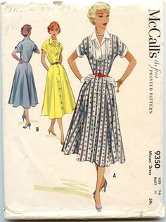1950s Vintage Sewing Pattern McCalls 9350 Day Dress Inset Bodice Button Down Dress Flared Skirt Bust 34