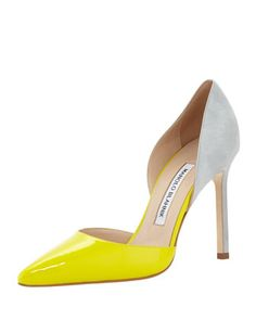 Tayler Pointed Combo d\'Orsay Pump, Light Green by Manolo Blahnik at Bergdorf Goodman.