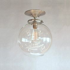 "Special Order for Stephanie - 12"" Clear Globe Semi Flush Pendant Light"