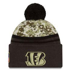 9bbfe65aeee 2016 NFL New Era Cincinnati Bengals Camo Graphite Salute To Service Knit  hat Sports Team
