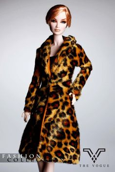 THE VOGUE Brown Leopard Fashion Faux-Fur Coat for Barbie Royalty Dolls (MF1042) #DollswithClothingAccessories