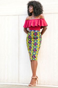 Off Shoulder Frill Top + Printed Pencil Skirt